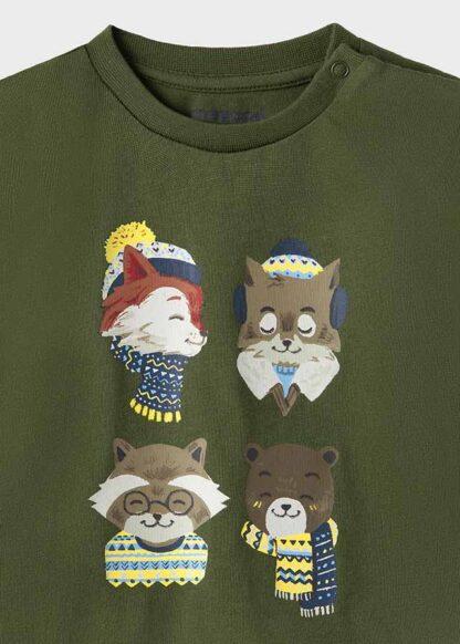 "Mayoral Μπλούζα μακρυμάνικη ""fox"" Πράσινο κυνηγού 11-02070-033"