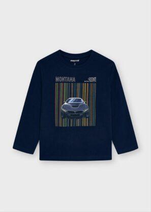 Mayoral Μπλούζα μακρυμάνικη μεταξοτυπία αυτοκινητάκι Ναυτικό μπλε 11-04081-010